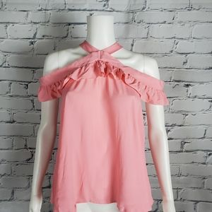 Boutique Moschino Pink Ruffle Off Shoulder Blouse